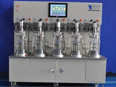 Five conjoined cell cultivation bioreactors